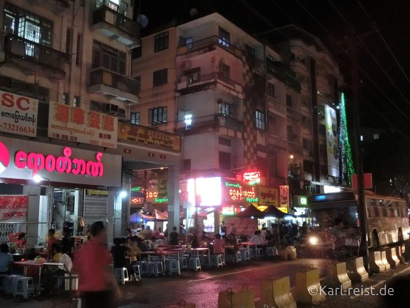 Nachtmarkt Chinatown Yangon