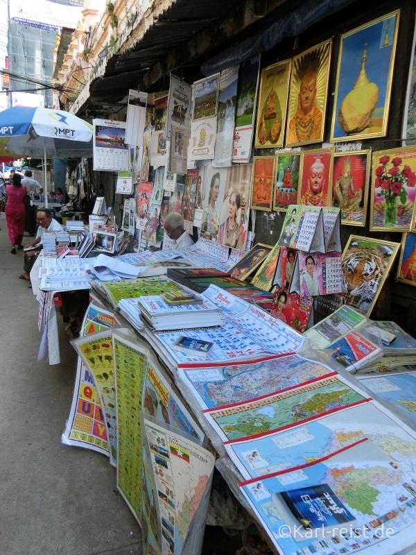 Auslage eines Straßenhändler in der Bo Gyoke Road.