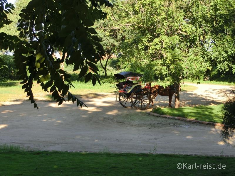 Pferdekutsche wartet vorm Kumudura Hotel New Bagan