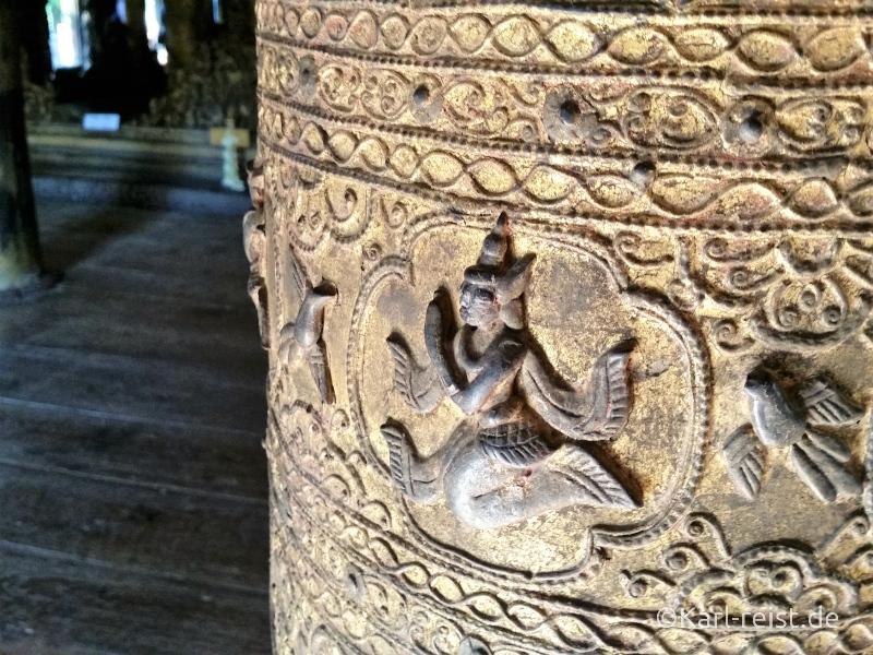 Shwenandaw Kyaung Schnitzereien Säule und Goldverzierung