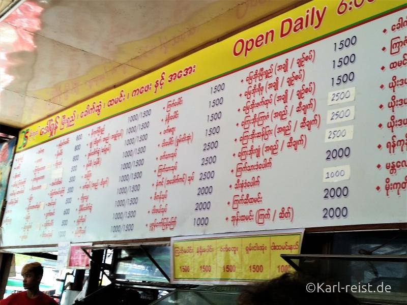Speisekarte Mo Goke Dan Shan Restaurant Mandalay