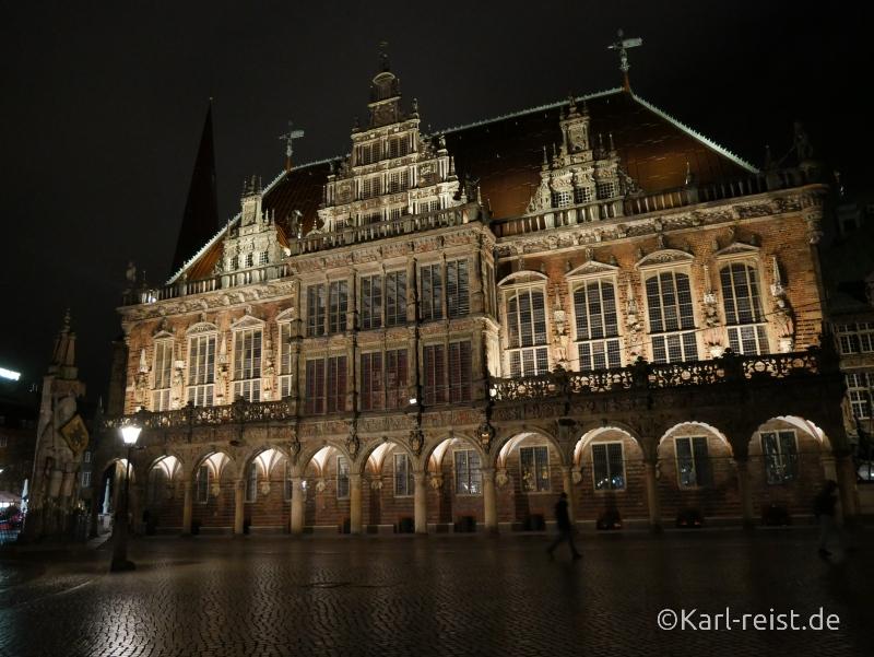 Rathaus Bremen bei Nacht
