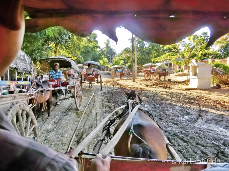 Chaos bei den Pferdekutschen am Anleger.