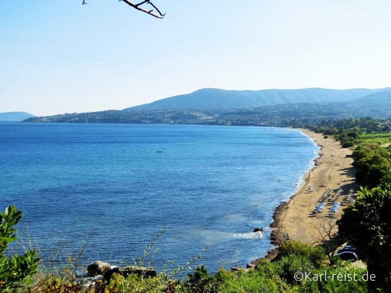 Blick auf den Zaga Strand bei Koroni