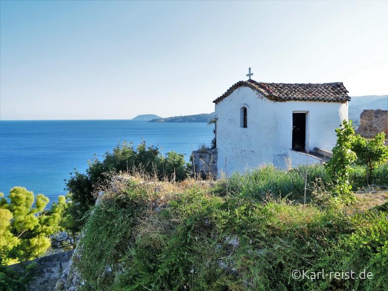 Blick vom Koroni Kloster über die Peloponnes Küste