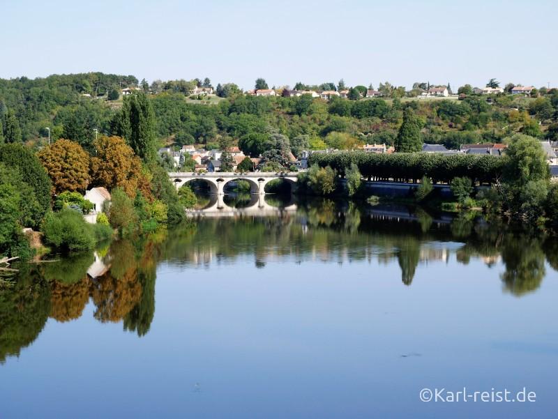 Ausblick vom Velorail auf Chauvigny