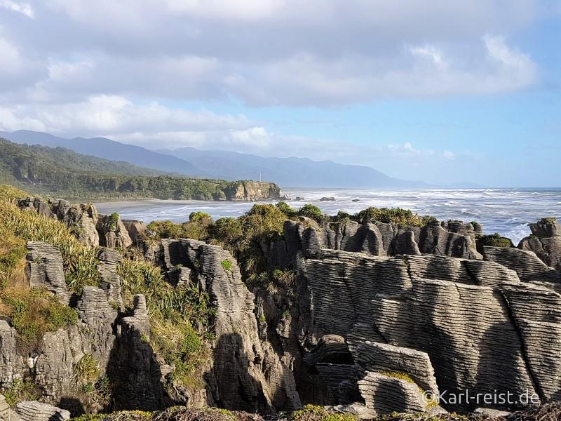 Neuseeland Südinsel Pancake Rocks Aussicht