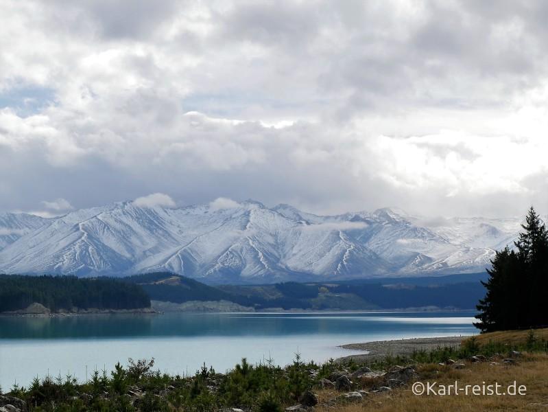 Neuseeland Südinsel Berge mit Schnee
