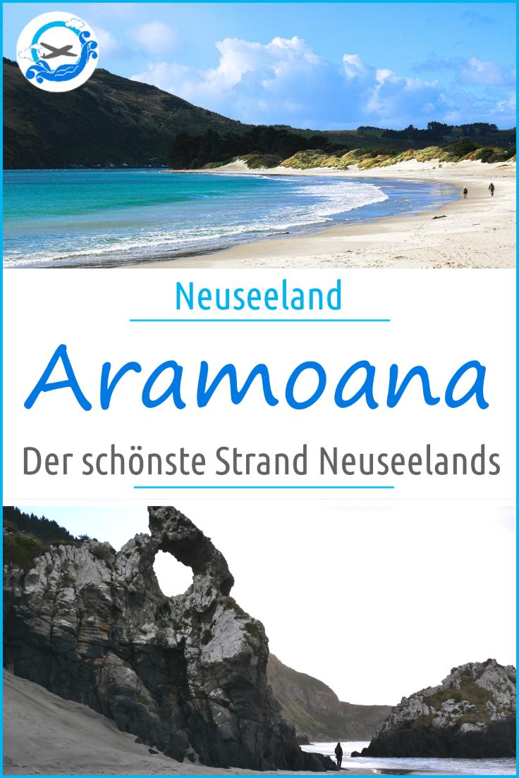 Aramoana - der schönste Strand in Neuseeland. Breite, lange, einsame weiße Strände gelegen am Ende einer Sackgasse. Hier kann man Neuseeland pur erleben. Mehr zu unserem Geheimtipp für Neuseelands Südinsel auf unserer Rundreise mit Kind, findest du im Artikel. #neuseeland #reisenmitkind #neuseelandmitkind