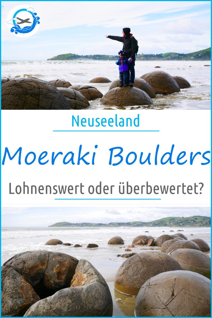 Die Moeraki Boulders sind ein beliebtes Ausflugsziel auf Neuseeland Südinsel. Direkt an der Ostküste sind diese Riesenkugeln ein interessantes Ziel, auch für Familien mit Kindern. Trotzdem waren wir etwas enttäuscht und warum, das erfahrt ihr hier #moerakiboulders #neuseeland #newzealand #moeraki #reisenmitkindern #familienurlaub #ausflugsziel #neuseeland