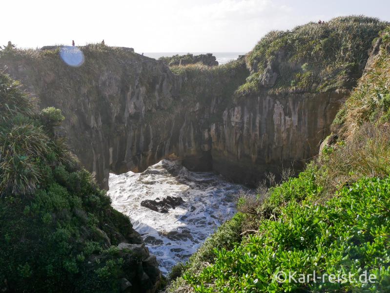 Ausblick Punakaiki Pancake Rocks Neuseeland Blowhole