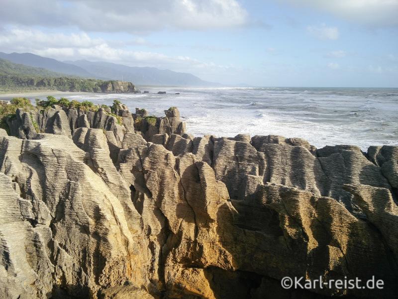 Ausblick Punakaiki Pancake Rocks aufs die Westküste Neuseelands