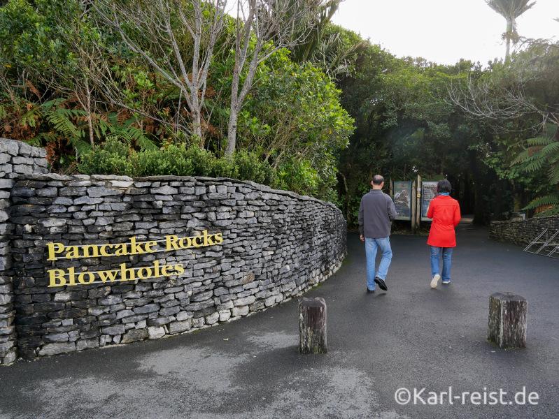 Eingang Rundweg Punakaiki Pancake Rocks Neuseeland