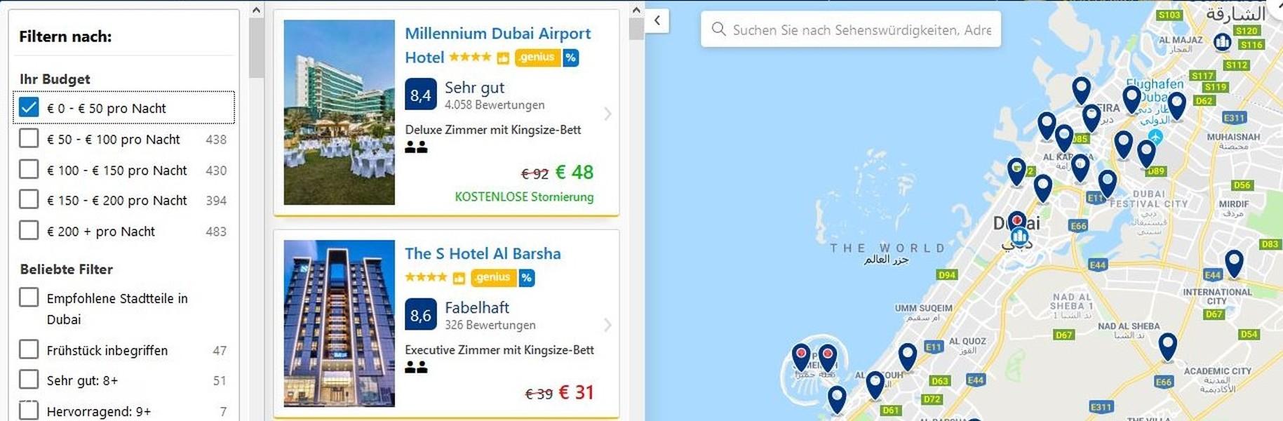 Hotelsuche bei booking über die Karte