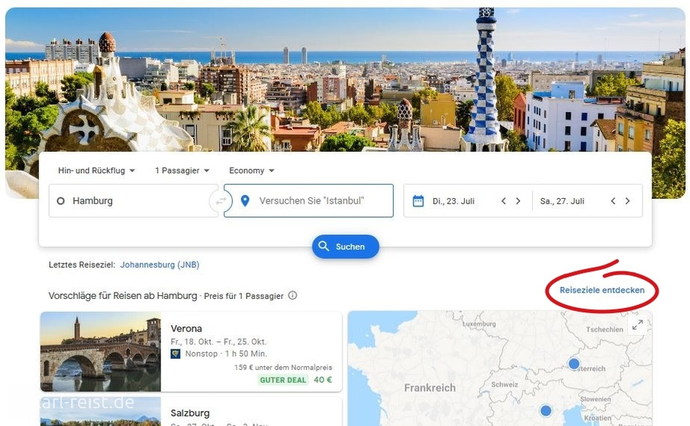 Google Flights, hier kann man Reiseziele entdecken